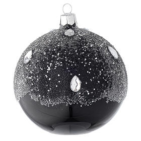 Christmas balls: Bauble in black blown glass with glitter 100mm
