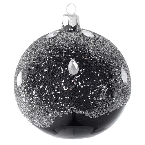 Bauble in black blown glass with glitter 100mm 2