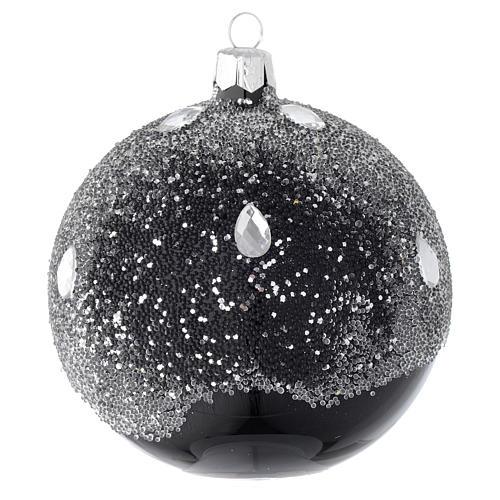 Palla in vetro nero e glitter 100 mm 2