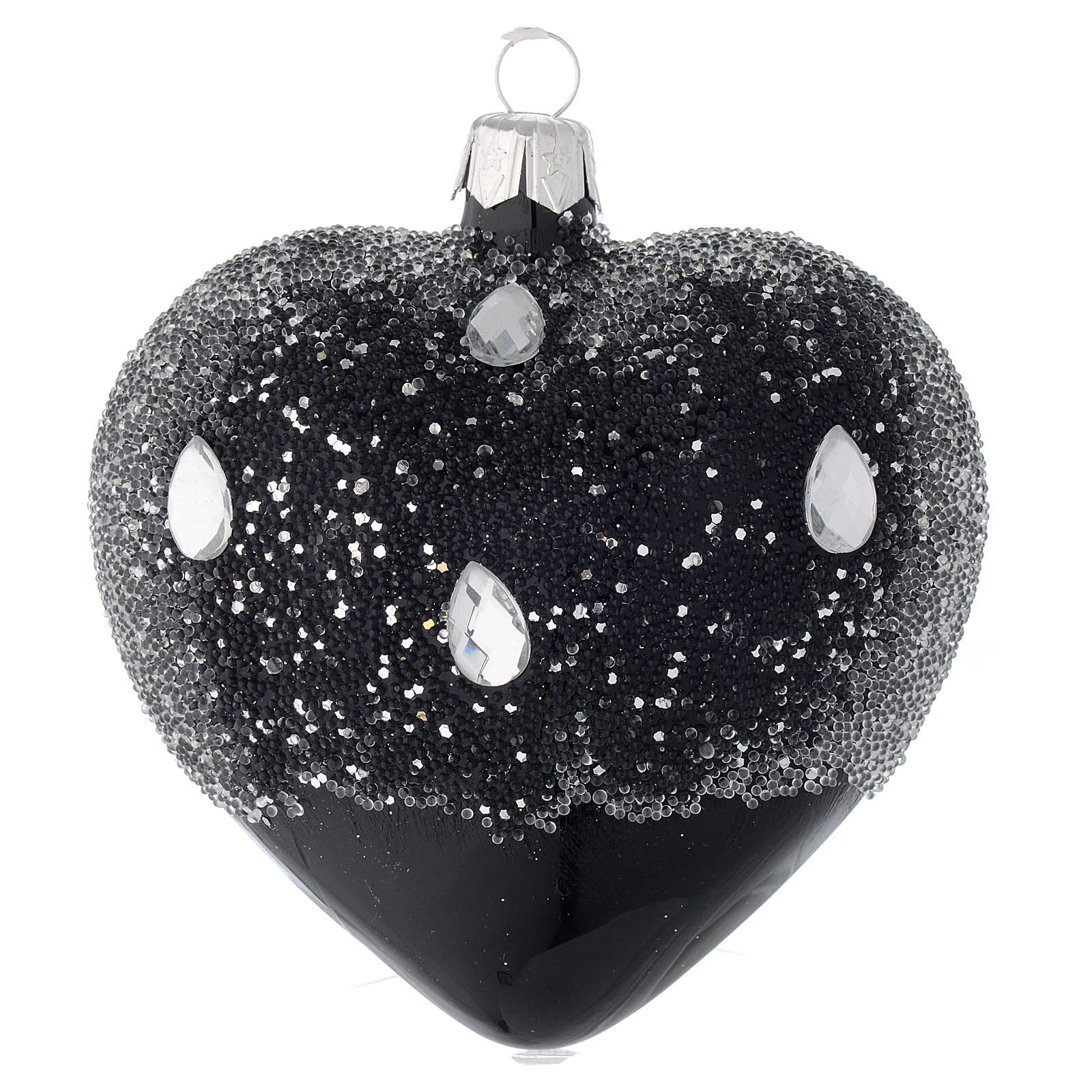 Heart Shaped Bauble in black blown glass with glitters 100mm 4