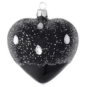 Heart Shaped Bauble in black blown glass with glitters 100mm s1
