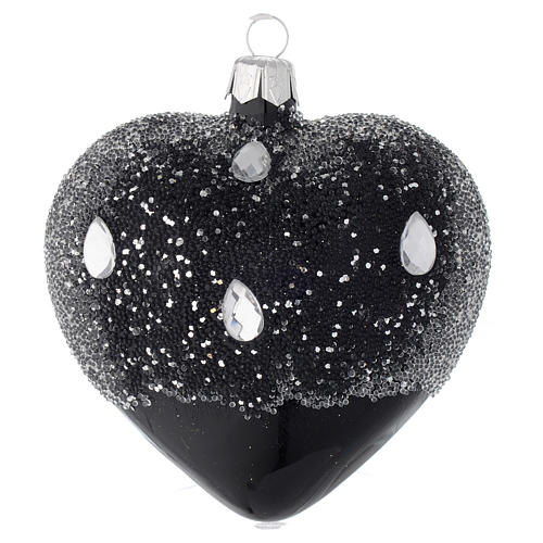 Heart Shaped Bauble in black blown glass with glitters 100mm 1