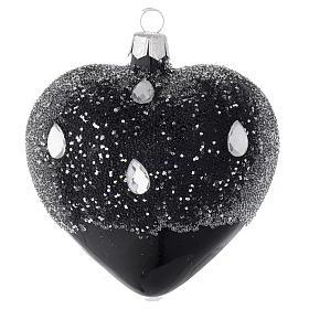 Cuore addobbo in vetro nero e glitter 100mm s1