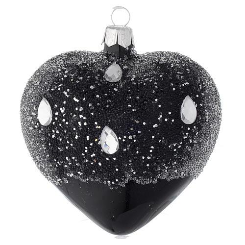 Cuore addobbo in vetro nero e glitter 100mm 1