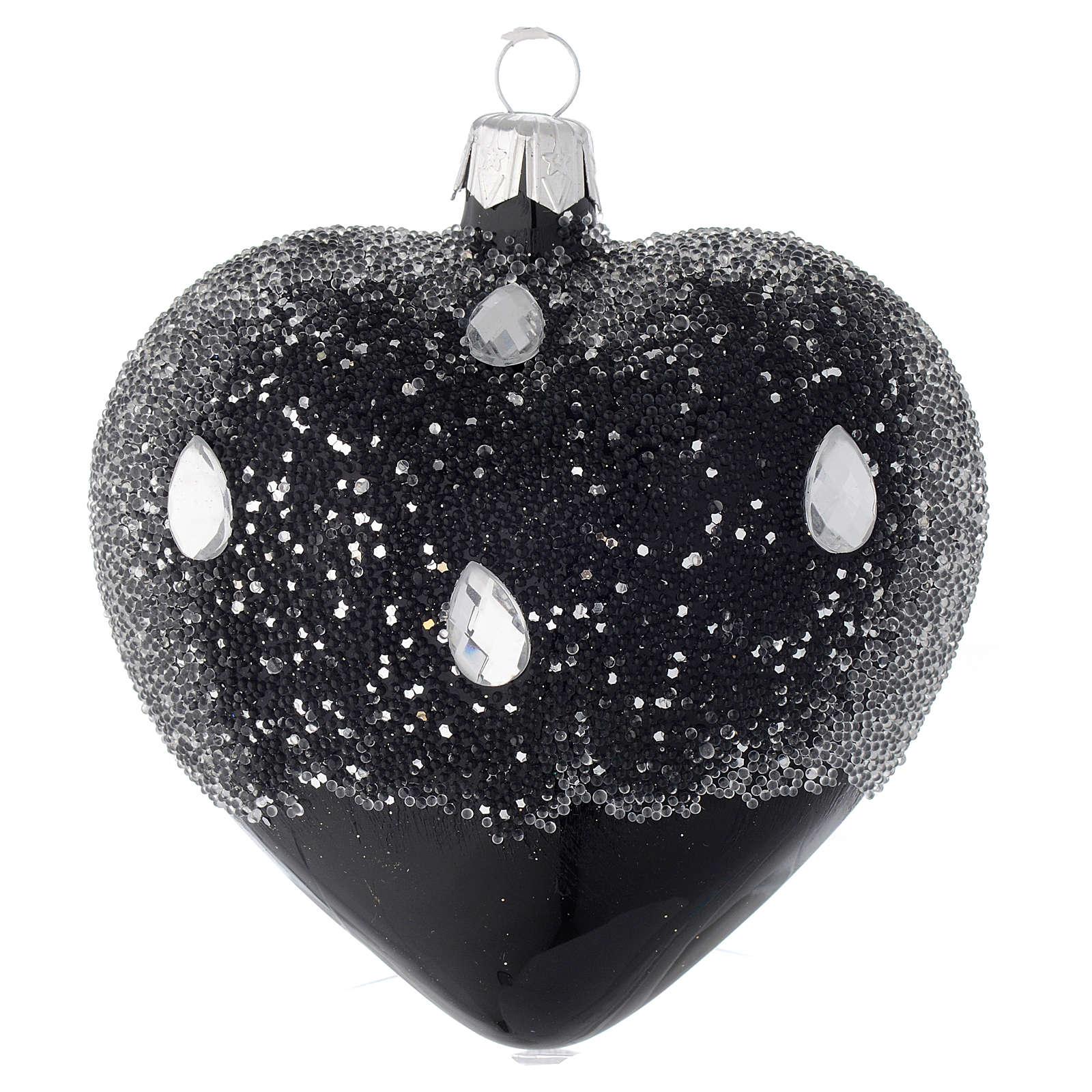 Bombka bożonarodzeniowa w ksztalcie serca szkło czarne z brokatem 100mm 4