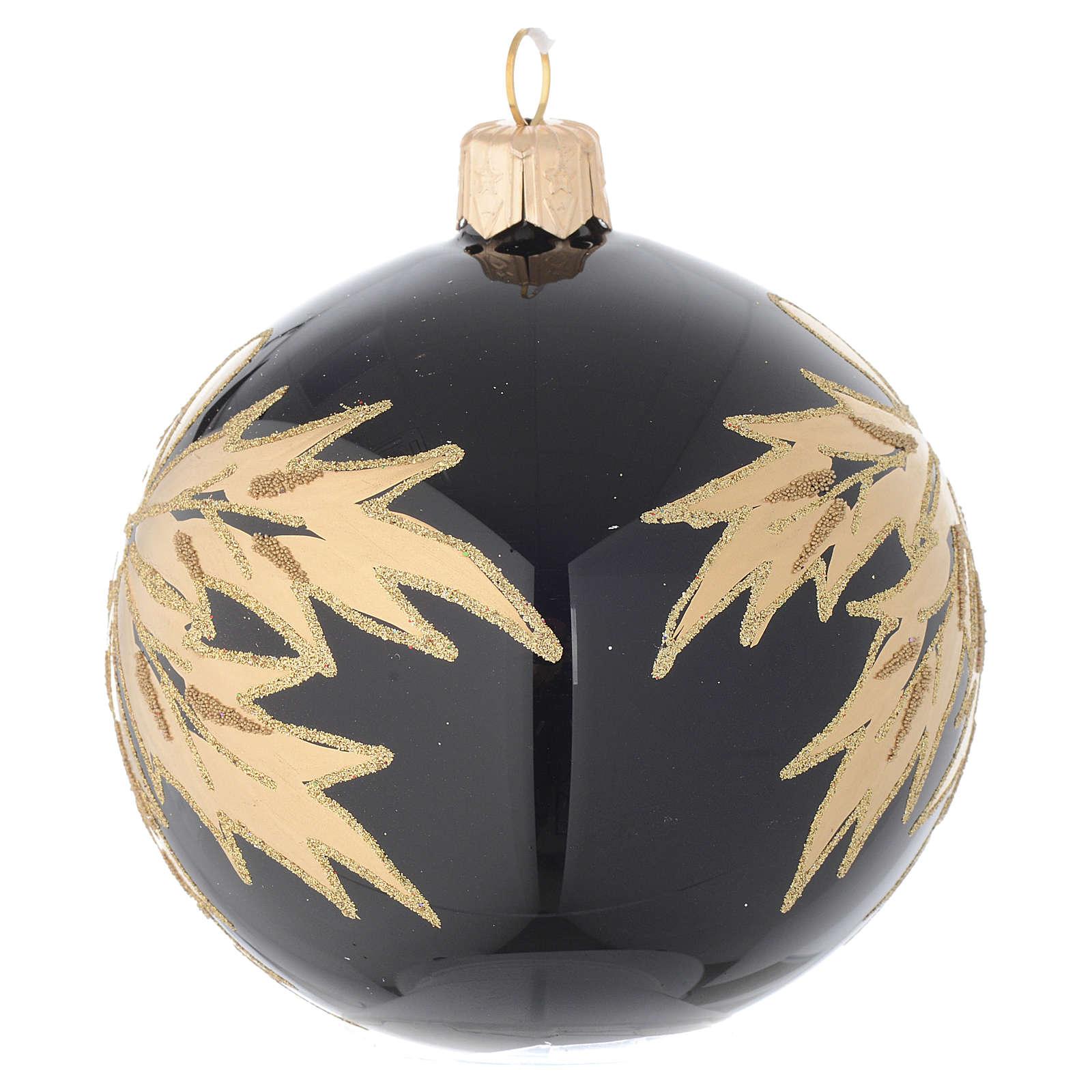 Pallina nera in vetro con foglie oro 80 mm 4