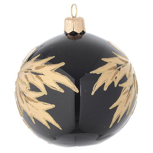 Pallina nera in vetro con foglie oro 80 mm 2