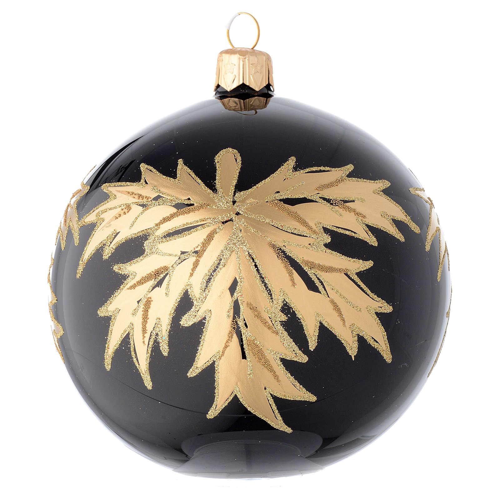 Palla nera in vetro con foglie oro 100 mm 4