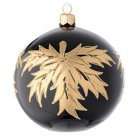 Palla nera in vetro con foglie oro 100 mm s1
