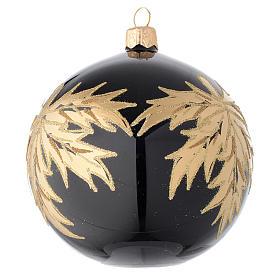 Palla nera in vetro con foglie oro 100 mm s2