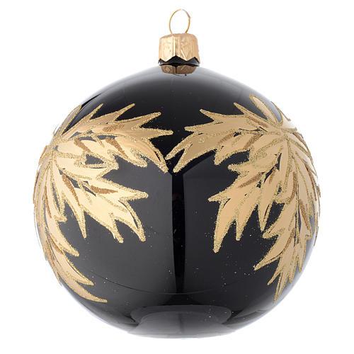 Palla nera in vetro con foglie oro 100 mm 2