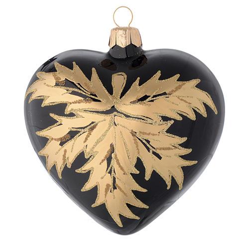 Cuore nero in vetro con foglie oro 100 mm 1