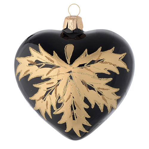 Cuore nero in vetro con foglie oro 100 mm 2