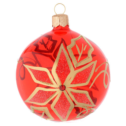 Bauble in red blown glass with poinsettia 80mm 1