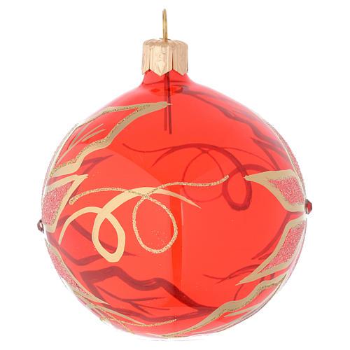 Bola de Navidad de vidrio soplado con decoración flor de Navidad 80 mm 2