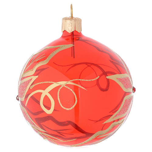 Bauble in red blown glass with poinsettia 80mm 2