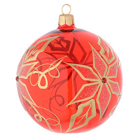 Bauble in red blown glass with poinsettia 100mm s2