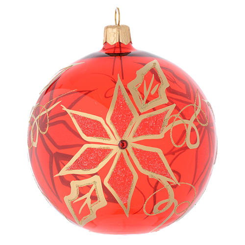 Bauble in red blown glass with poinsettia 100mm 1