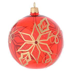 Bola de Navidad de vidrio soplado rojo con decoración flor de Navidad 100 mm s1
