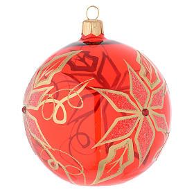 Boule rouge verre soufflé étoile de Noël 100 mm s2