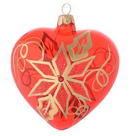 Bola de Navidad corazón de vidrio soplado rojo con decoración flor de Navidad 100 mm s1