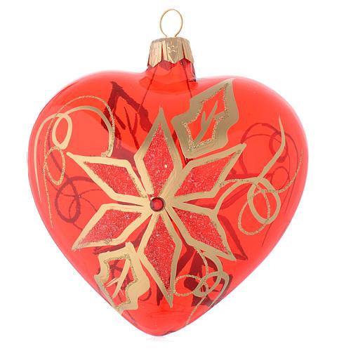 Bola de Navidad corazón de vidrio soplado rojo con decoración flor de Navidad 100 mm 1