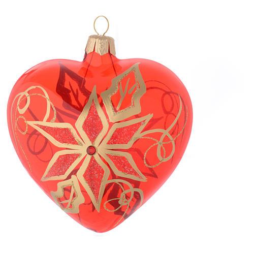 Bola de Navidad corazón de vidrio soplado rojo con decoración flor de Navidad 100 mm 2