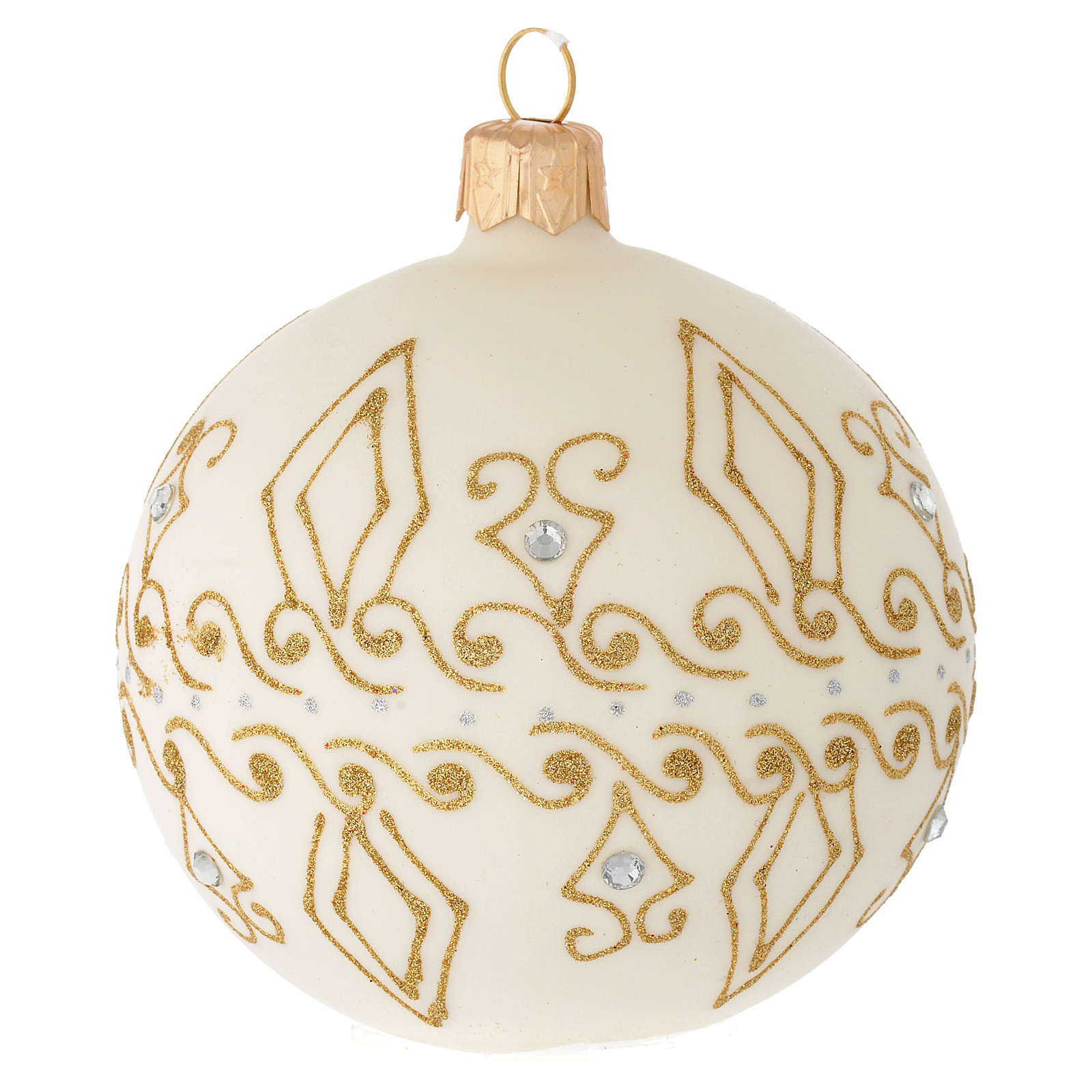 Bauble in beige blown glass with gold decorations 80mm 4