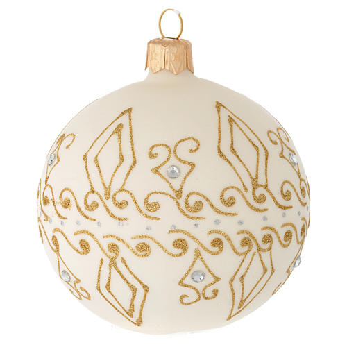 Bauble in beige blown glass with gold decorations 80mm 1