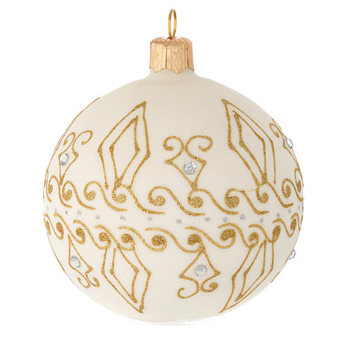 Bauble in beige blown glass with gold decorations 80mm 2