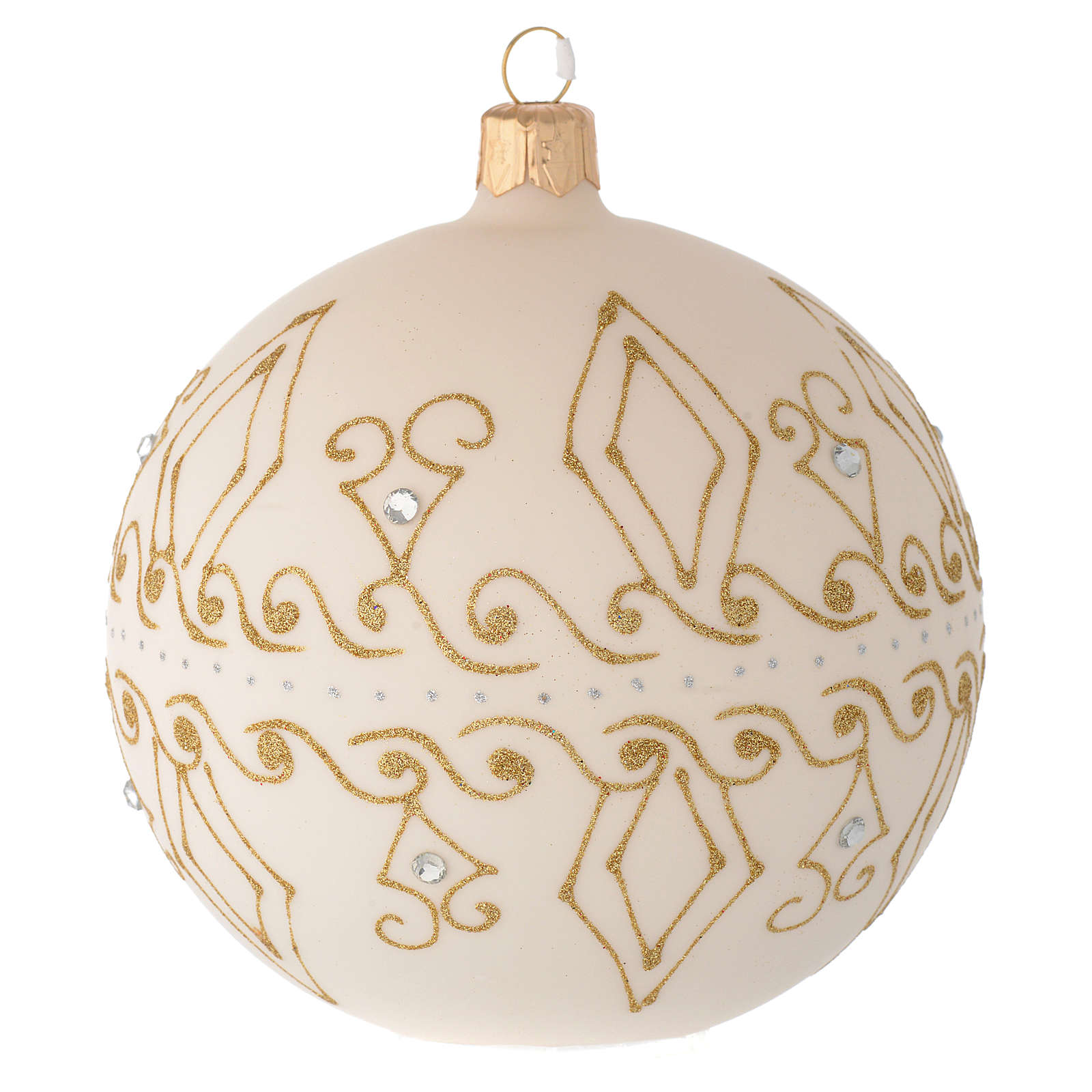 Bauble in beige blown glass with gold decorations 100mm 4