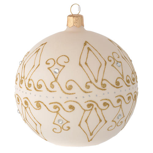 Bauble in beige blown glass with gold decorations 100mm 1