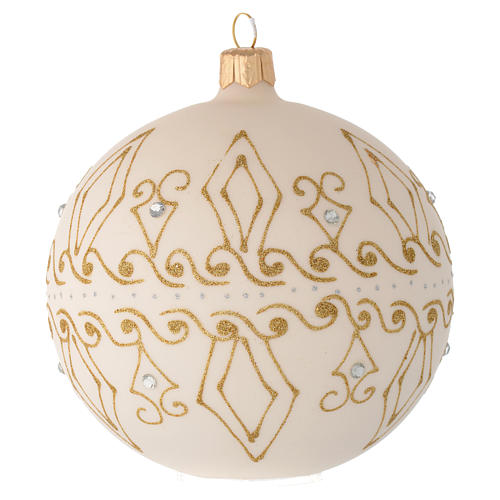 Bauble in beige blown glass with gold decorations 100mm 2
