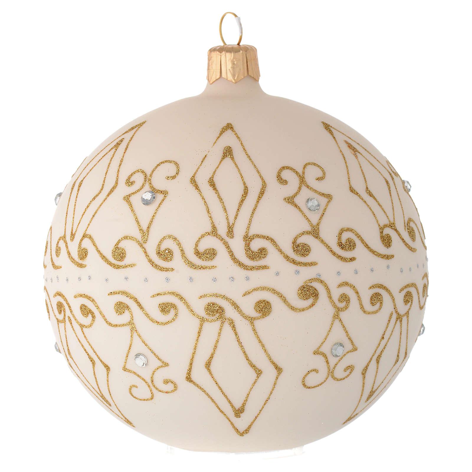 Bombka bożonarodzeniowa  szkło koloru beżowego dekoracje złote 100mm 4