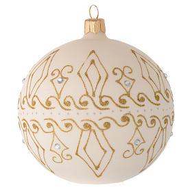 Bombka bożonarodzeniowa  szkło koloru beżowego dekoracje złote 100mm s2