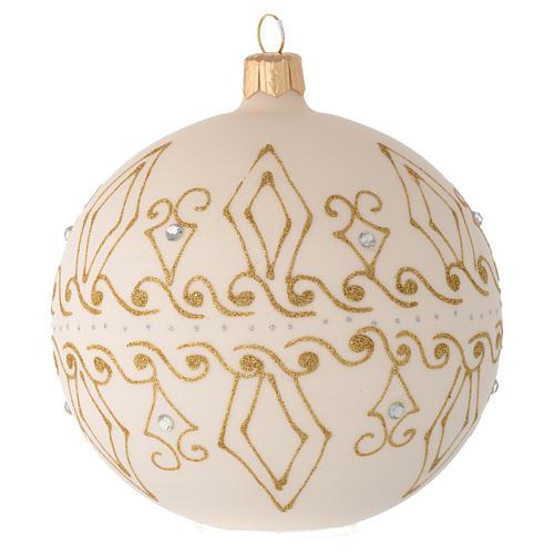 Bombka bożonarodzeniowa  szkło koloru beżowego dekoracje złote 100mm 2