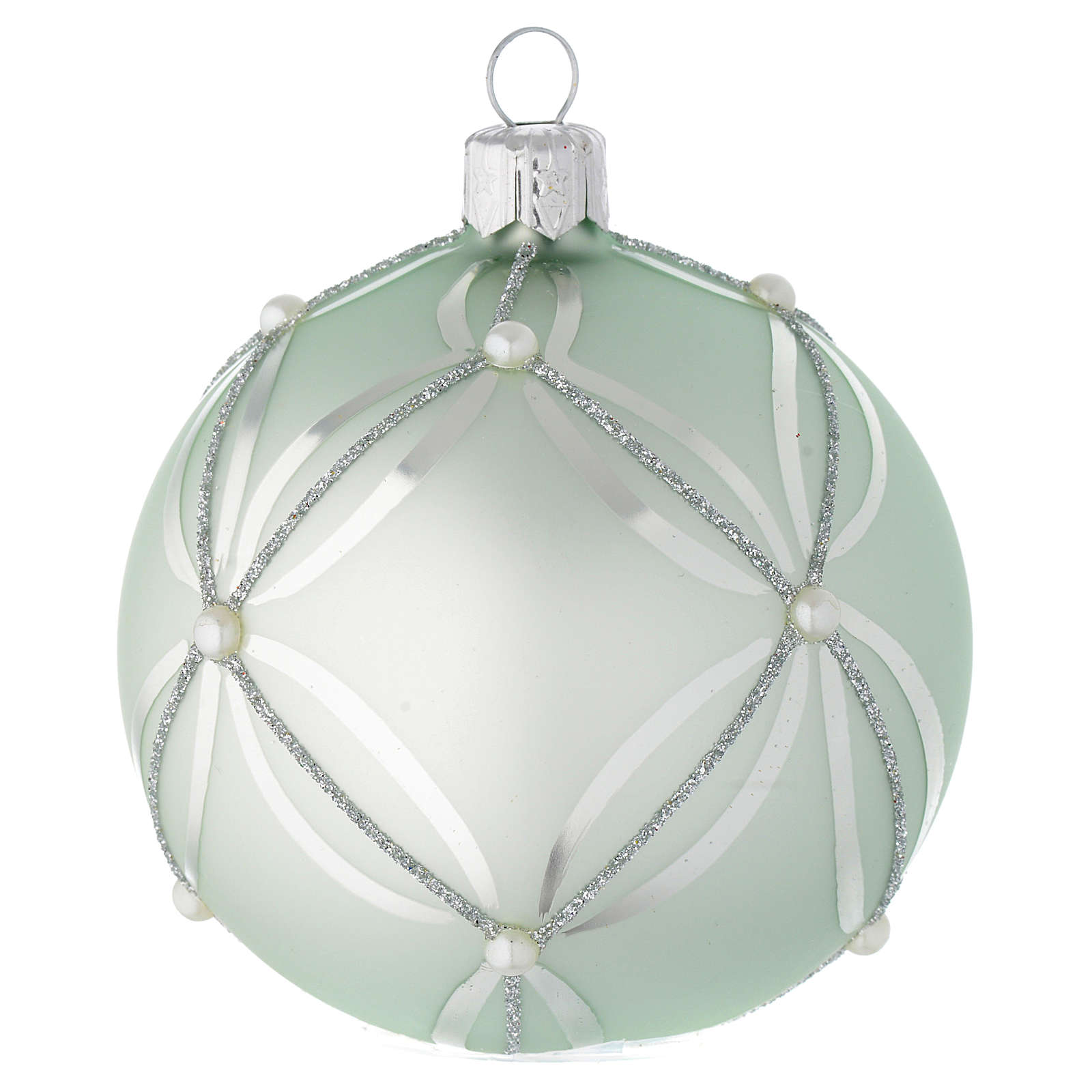 Bauble in sage green blown glass with pearls 80mm 4