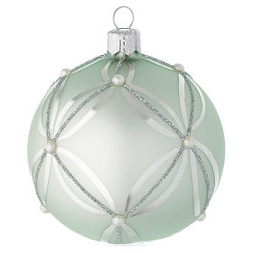 Bauble in sage green blown glass with pearls 80mm s2
