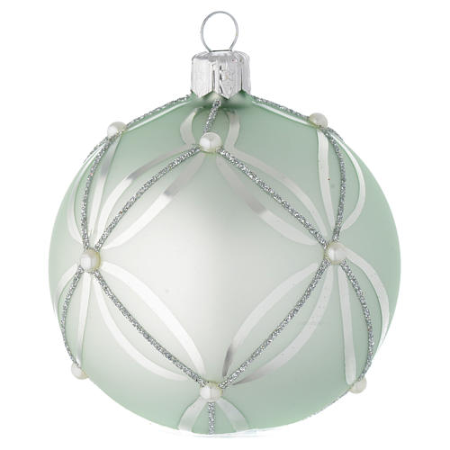 Bauble in sage green blown glass with pearls 80mm 2