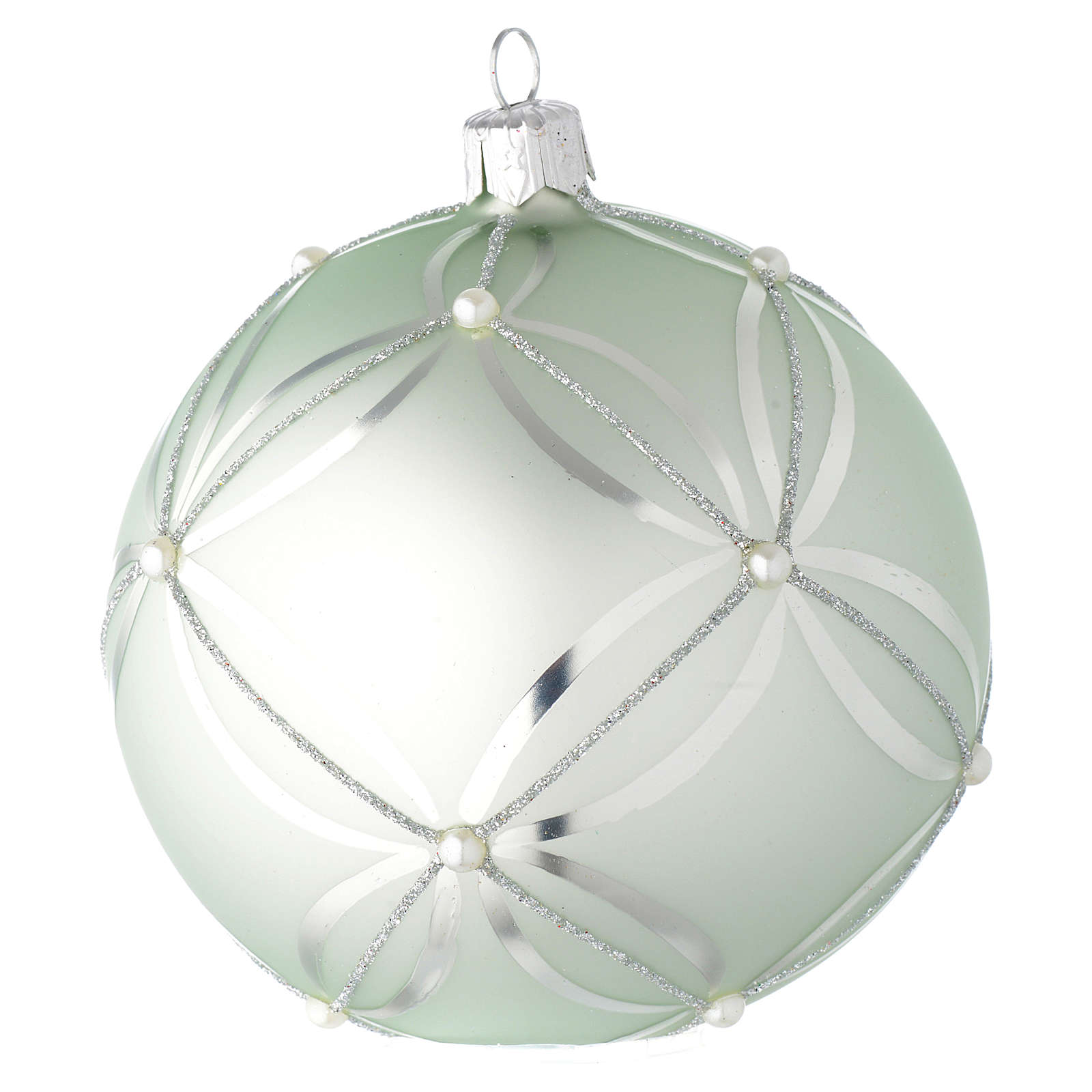 Bauble in sage green blown glass with pearls 100mm 4
