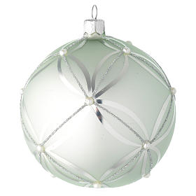 Bauble in sage green blown glass with pearls 100mm s1