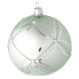 Bauble in sage green blown glass with pearls 100mm s2