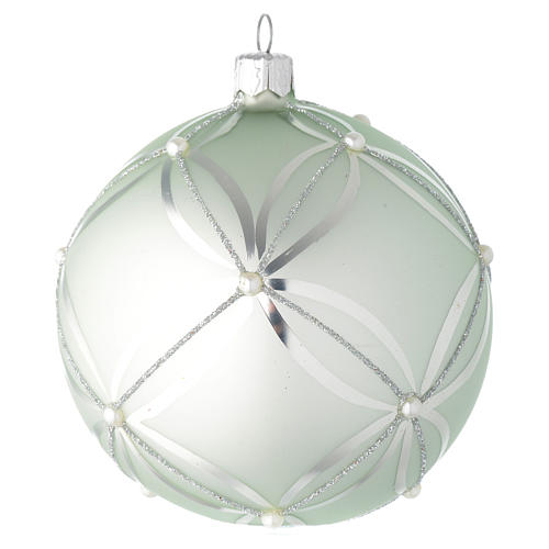 Bauble in sage green blown glass with pearls 100mm 1