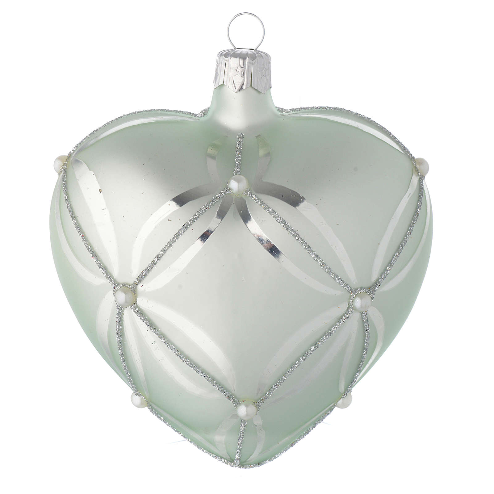 Heart Shaped Bauble in sage green blown glass with pearls 100mm 4