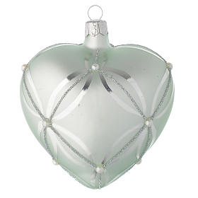 Heart Shaped Bauble in sage green blown glass with pearls 100mm s2