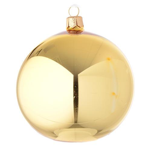 Bola de Navidad de vidrio dorado lúcido 100 mm 1