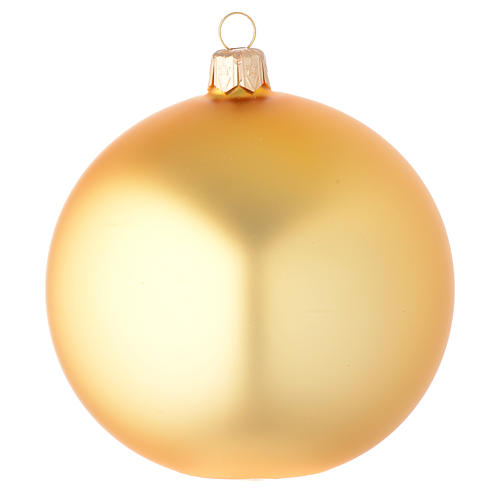Bauble in gold blown glass with satin finish 100mm 1