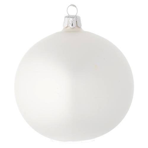 Bola de Navidad de vidrio blanco satinado 100 mm 1