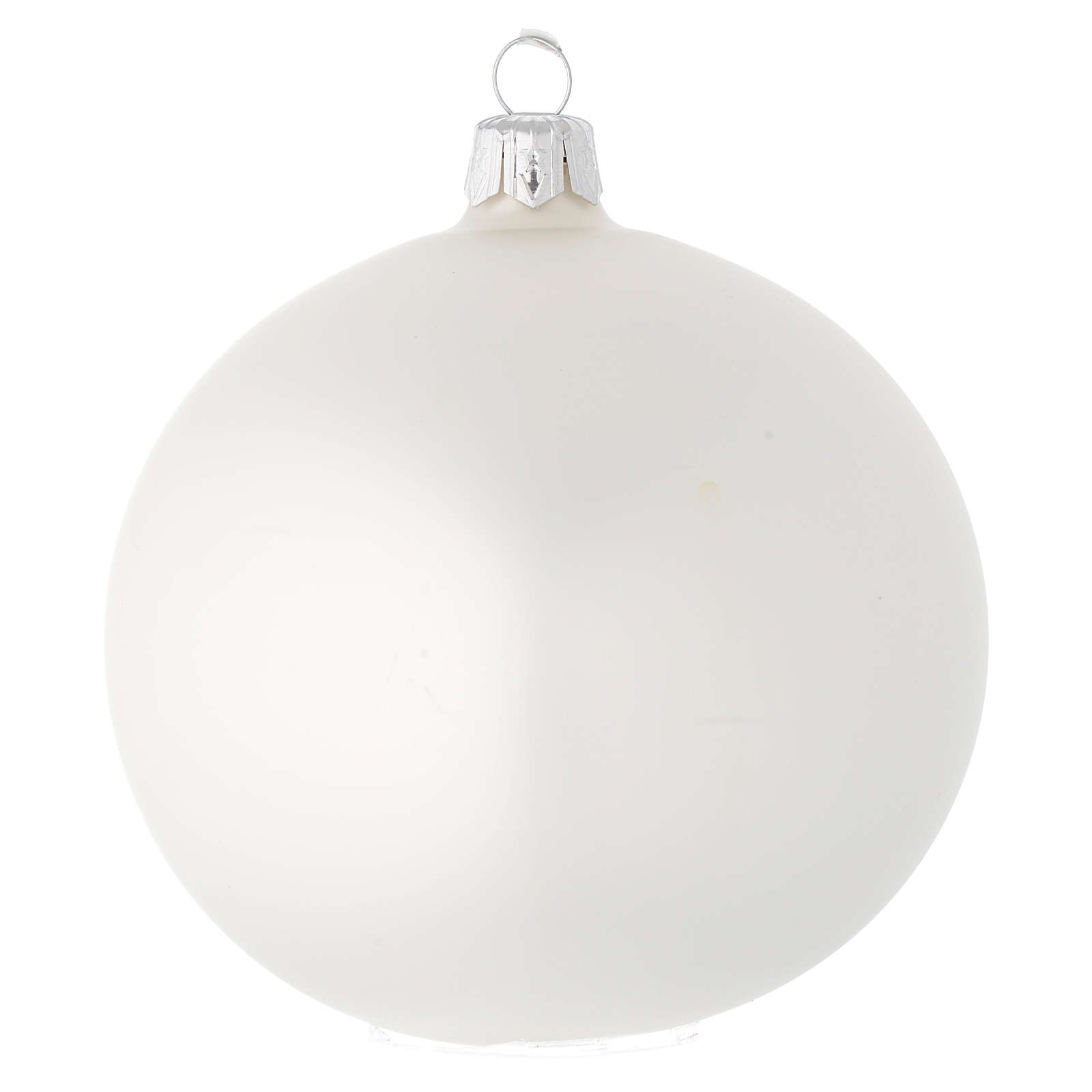 Bauble in white blown glass with satin finish 100mm 4