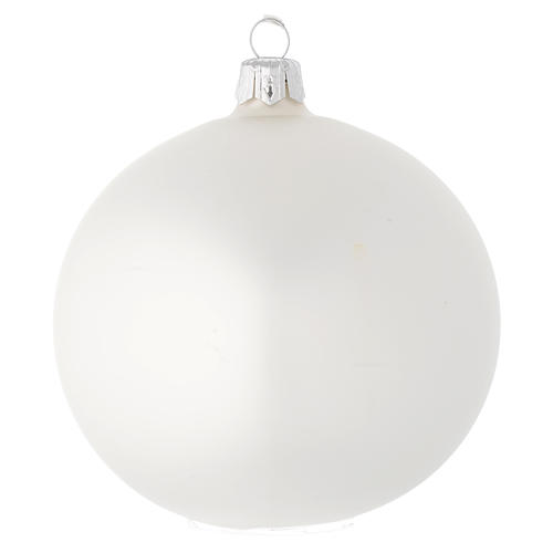Bauble in white blown glass with satin finish 100mm 1